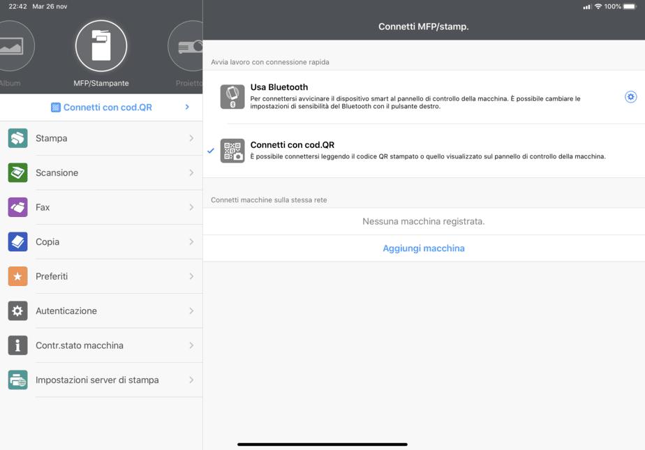 Scelta del collegamento fra ipad e/o Iphone e multifunzione Ricoh